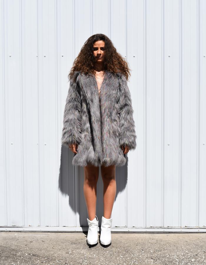 Grey Faux Fur with Hoodie