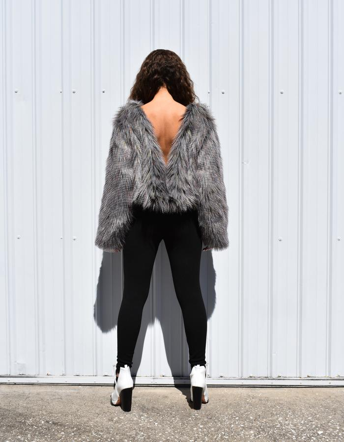 Grey Faux Fur Top with Deep V Back