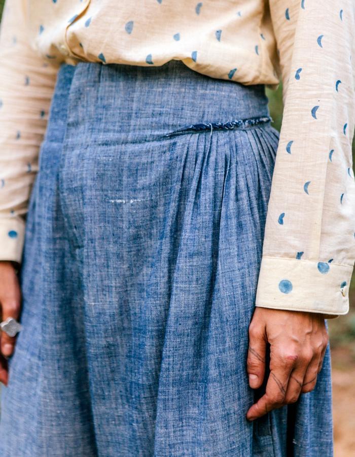 natural dye,lunar block print,handwoven, handspun,indigo