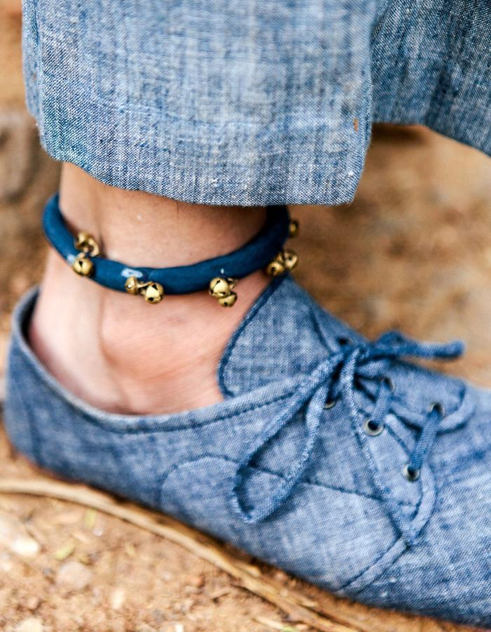accessory,anklet,khadi,shoes,natural dye,indigo