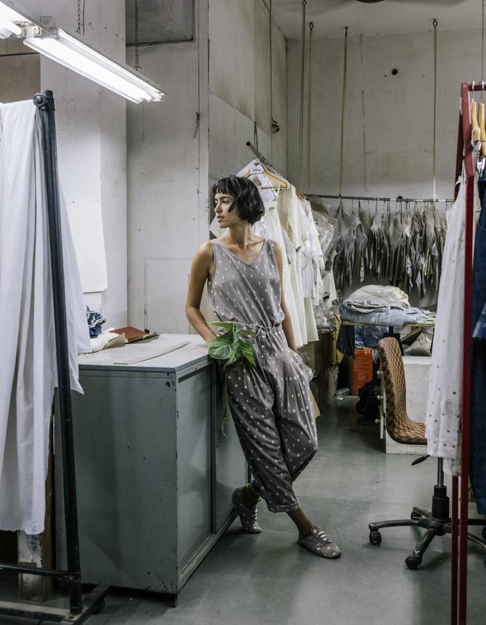 khadi,handwoven,handspun,grey,lunar blockprint,jumpsuit,natural dye