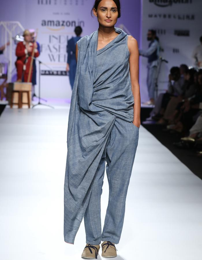 Khadi,sareepants,handwoven,handspun,natural dye,indigo