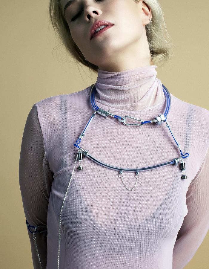 industrial design necklace with natural stones by Mellow Melita Rus
