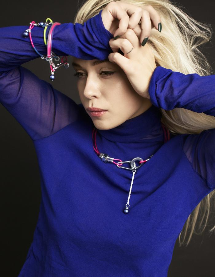 contemporary jewelry necklace and bracelets with swarovski pearls by mellow Melita Rus