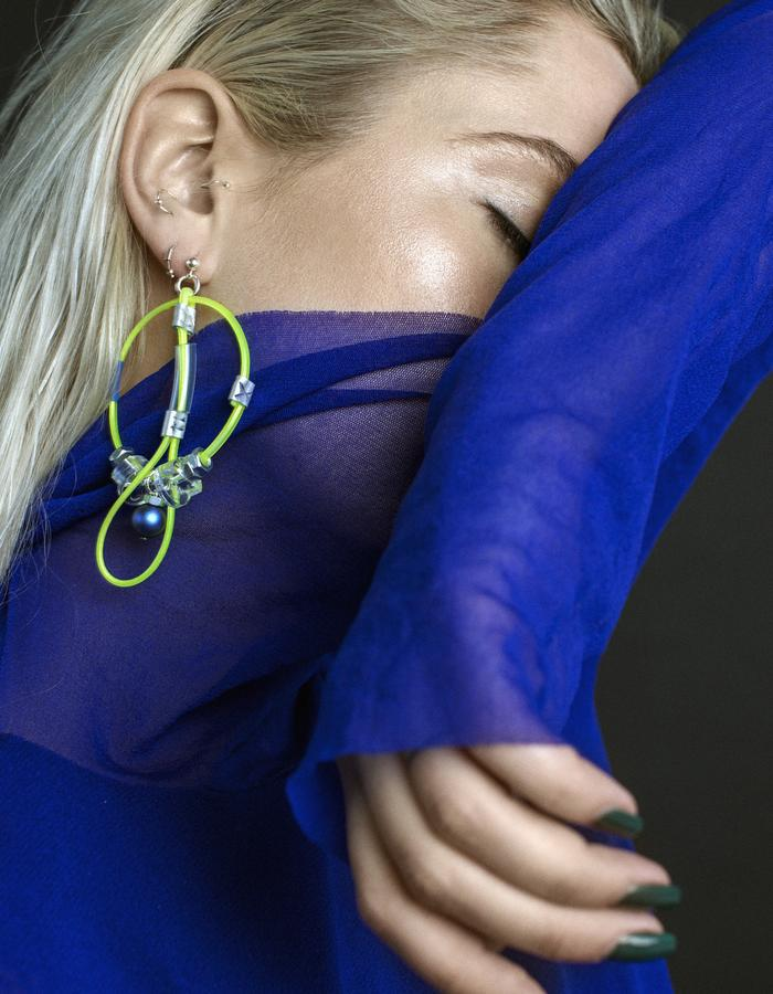 contemporary jewelry earrings with swarovski pearls by mellow Melita Rus