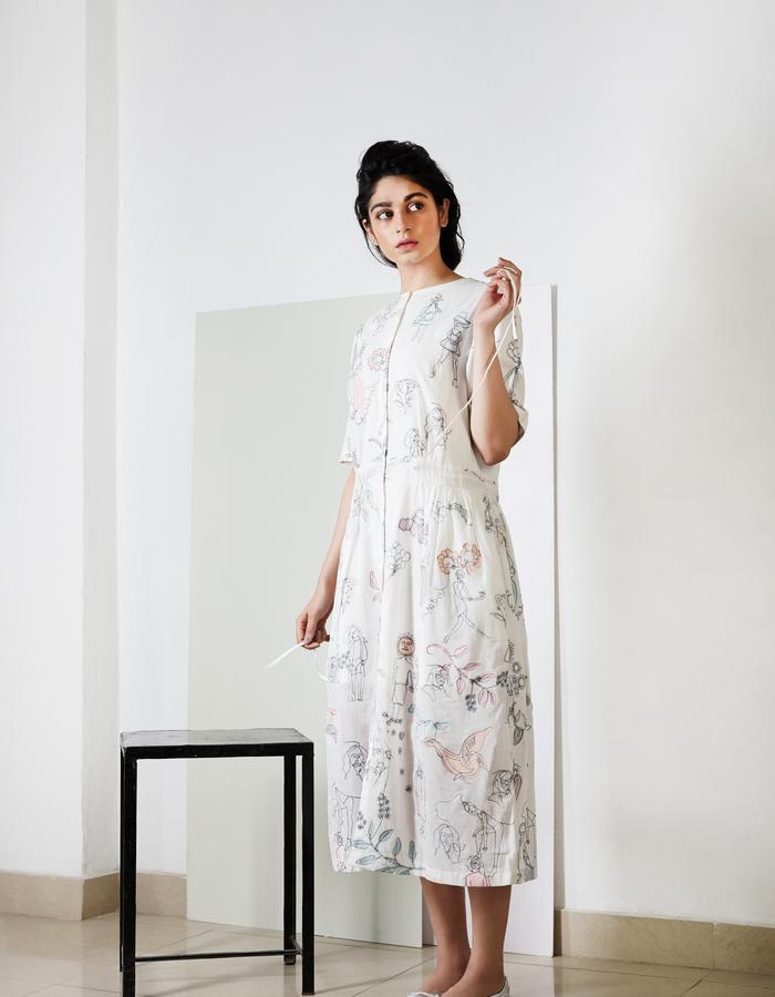 Applique White Trench Dress