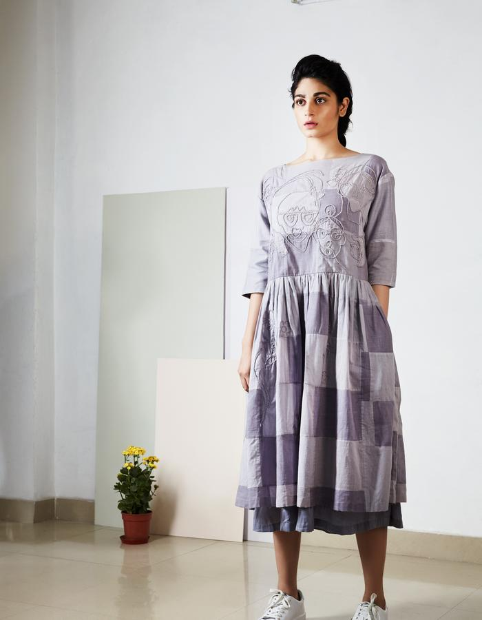 Overdyed patch dress with hand embroidery