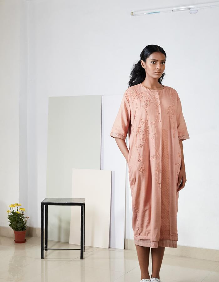 Peach patch dress