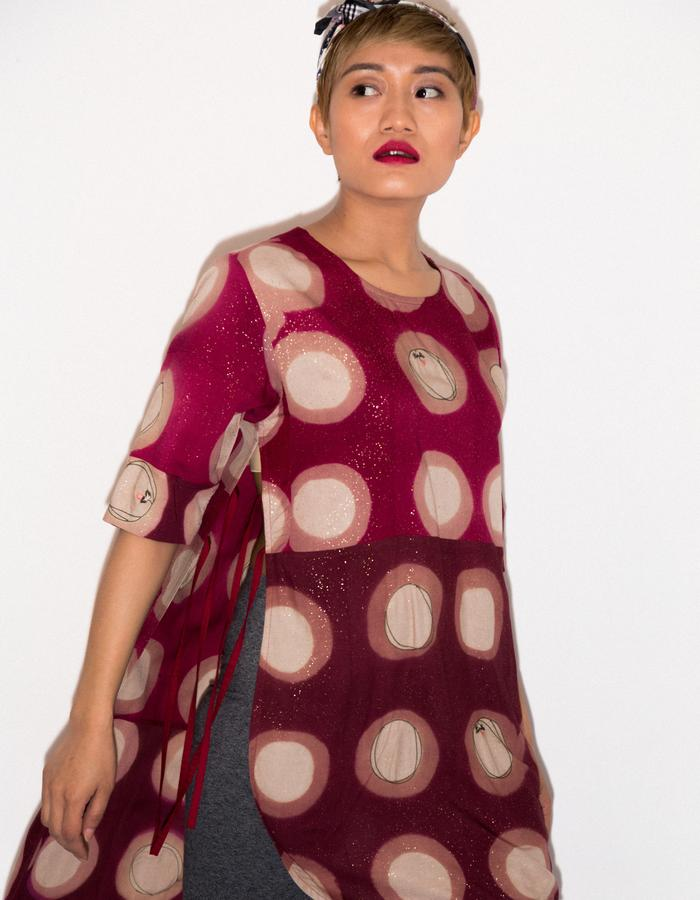 Clamp dyed side open tunic