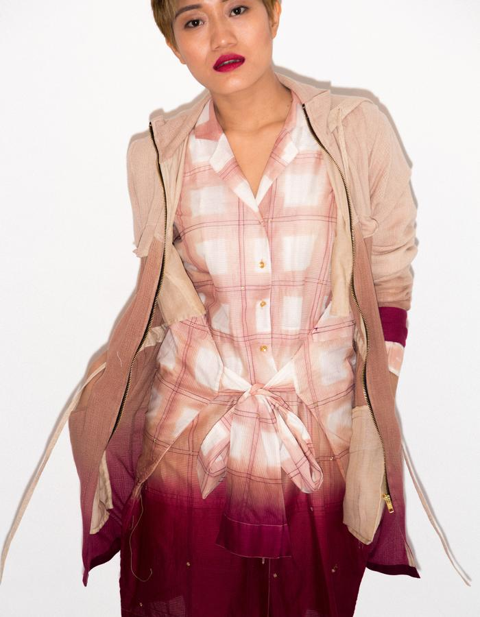 Dip dyed parka and clamp dyed shirtdress