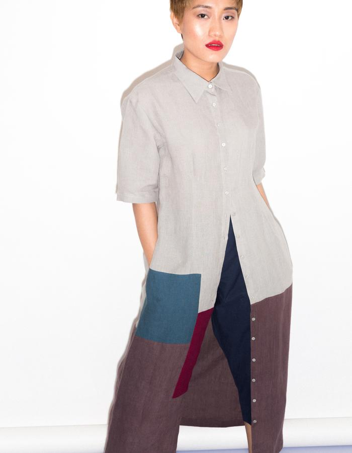 Back gather all patch tunic