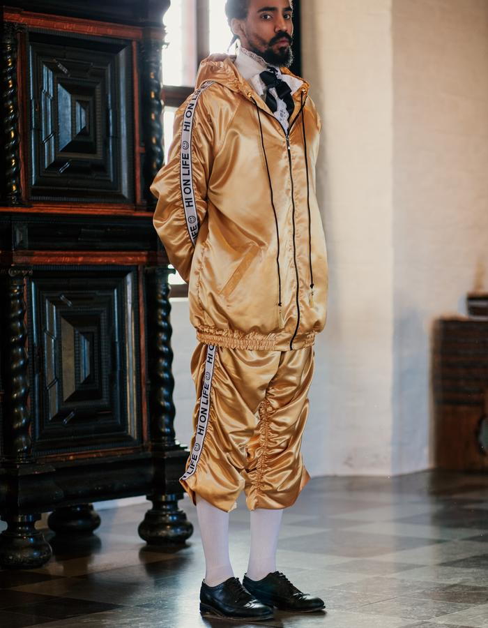 HIONLIFE GOLDEN SATIN HOOD JACKET & TROUSER