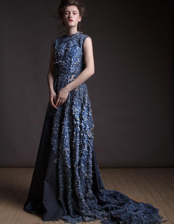 Olya Kosterina | Shredded Denim Gown