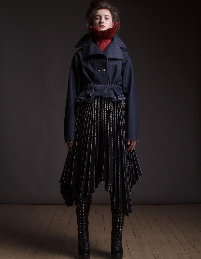 Olya Kosterina | Ruffle Utility Denim Jaket & Irregular Pleated Stitched Denim Skirt
