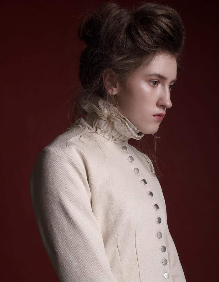 Olya Kosterina | Victorian Safari Denim Suit & Linen Raw Shirt