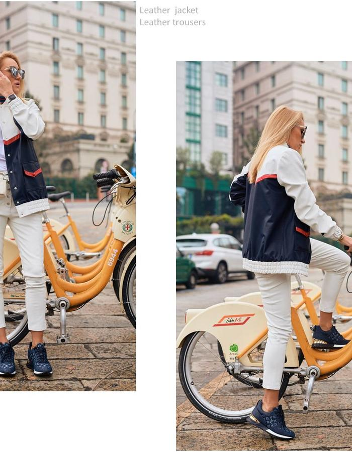 Tricolor bomber on the buttons, with patch pockets and elastic on the bottom and on cuffs. Pants on buttons