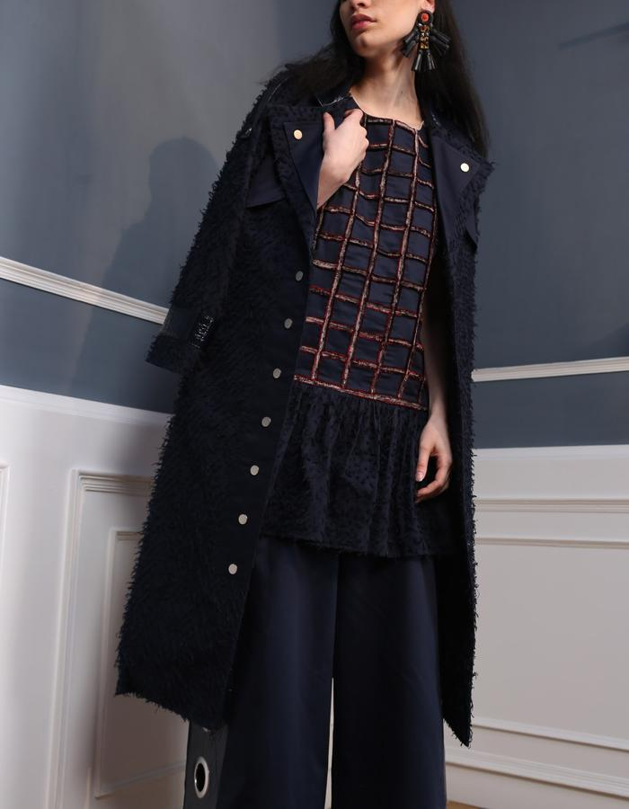 Velvet embroidery frill top with all Weather Trench.Flared pants with eyelets.