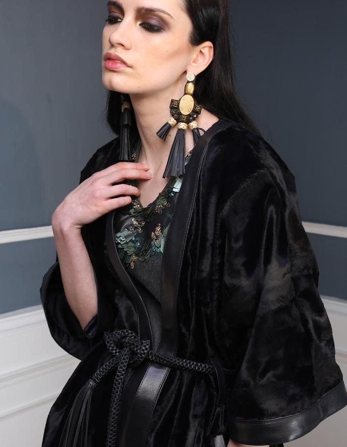 Hair on kimono jacket and our bang and fringe earrings