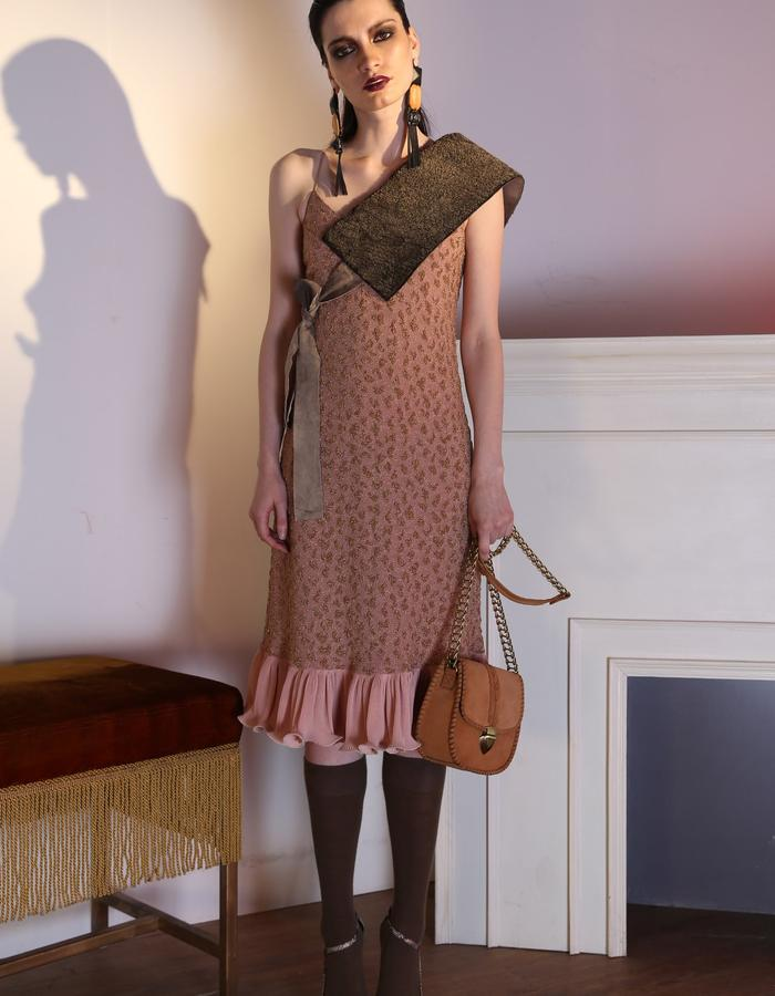 The bewildered jacquard slip dress seen here with our soft shearling belt.