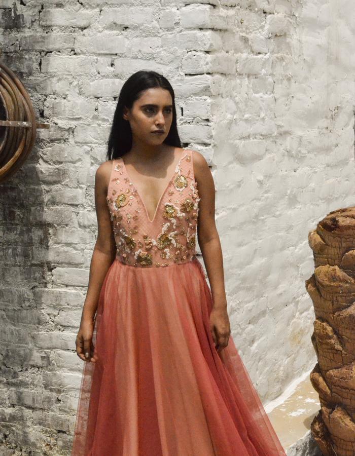 blush unlearn net gown
