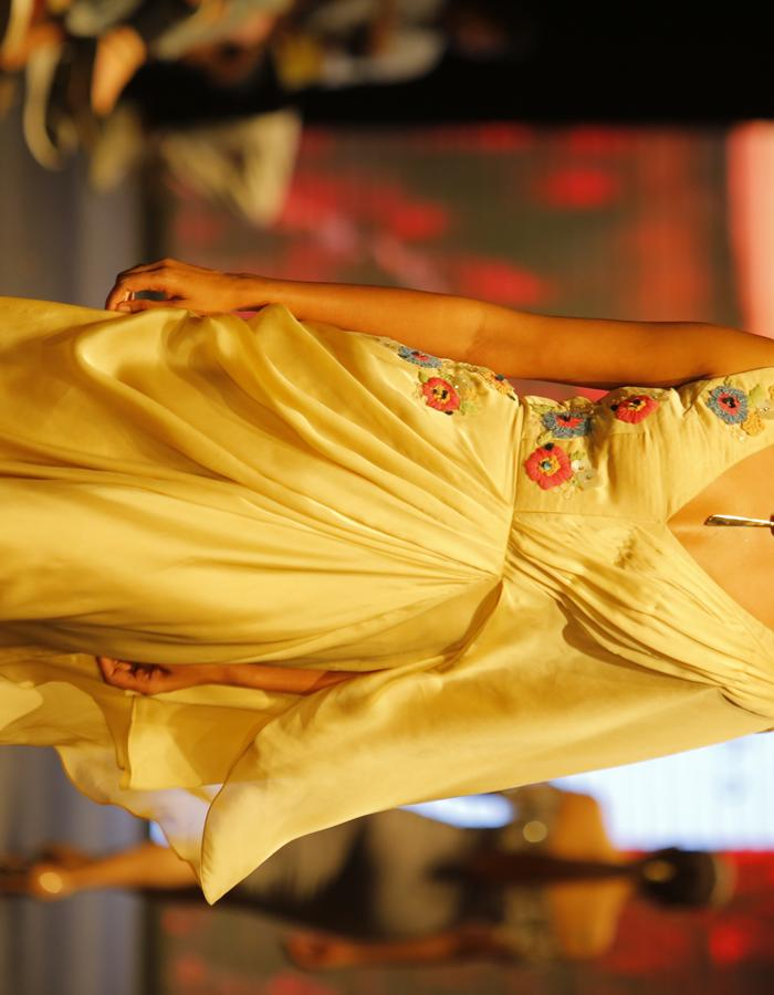 Gold stitched drape sari