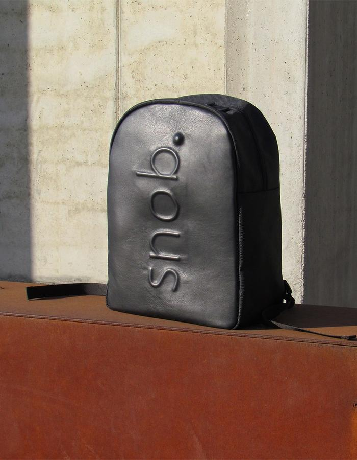 snob. 2017 All Black Collection - leather and nylon - embossed logo backpack