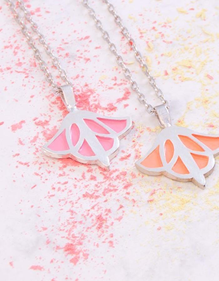 contemporary jewelry wood handmade silver pink peach