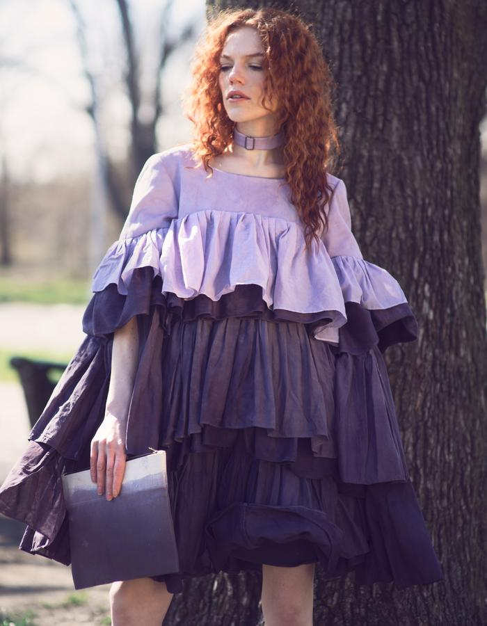 Look 1, Sustainable Vegan Purple Ruffle Dress by Lina Mayorga
