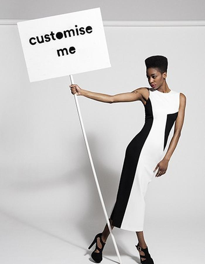 Workday dress, customised in black and white
