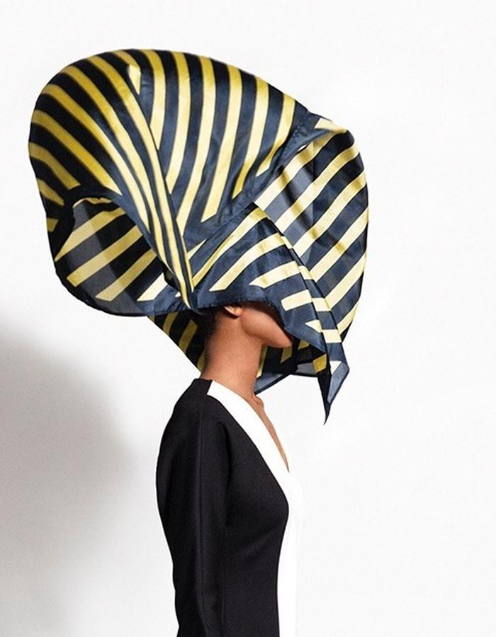 Scarf Delight in navy and mustard yellow block stripe