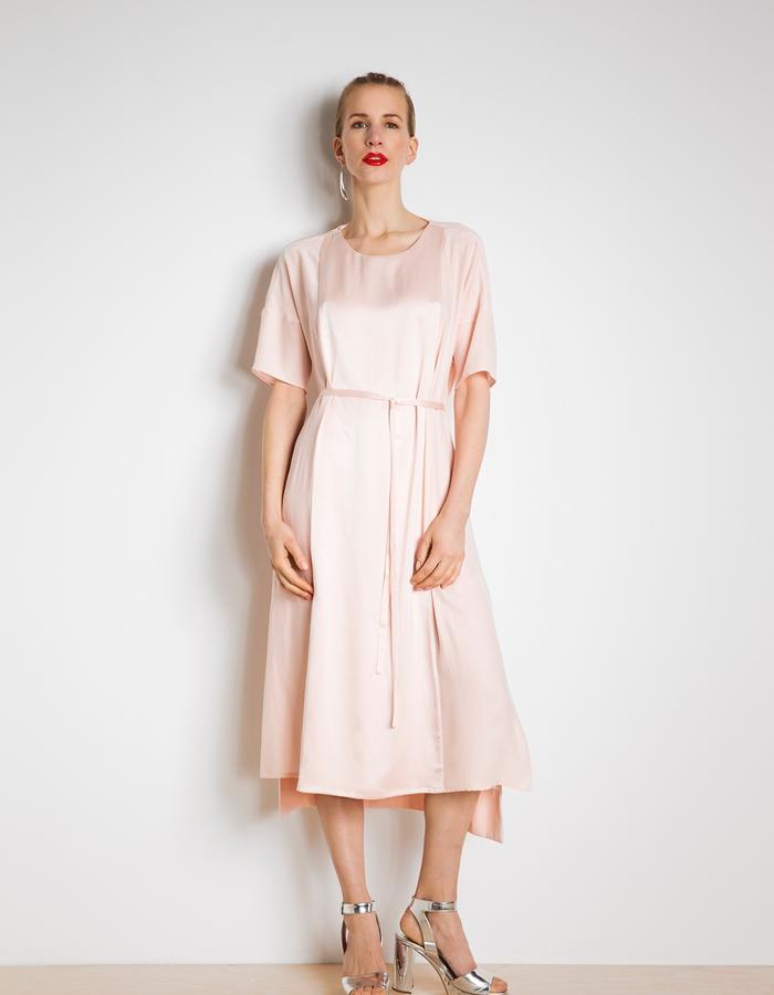 Day dress in powder pink satin