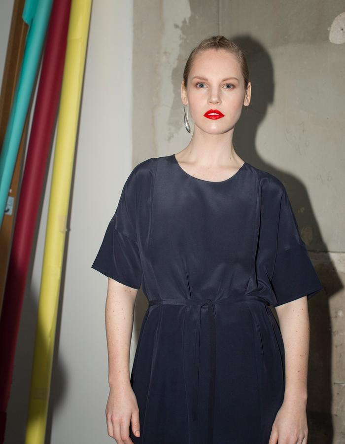 Day dress customised in navy blue and long length