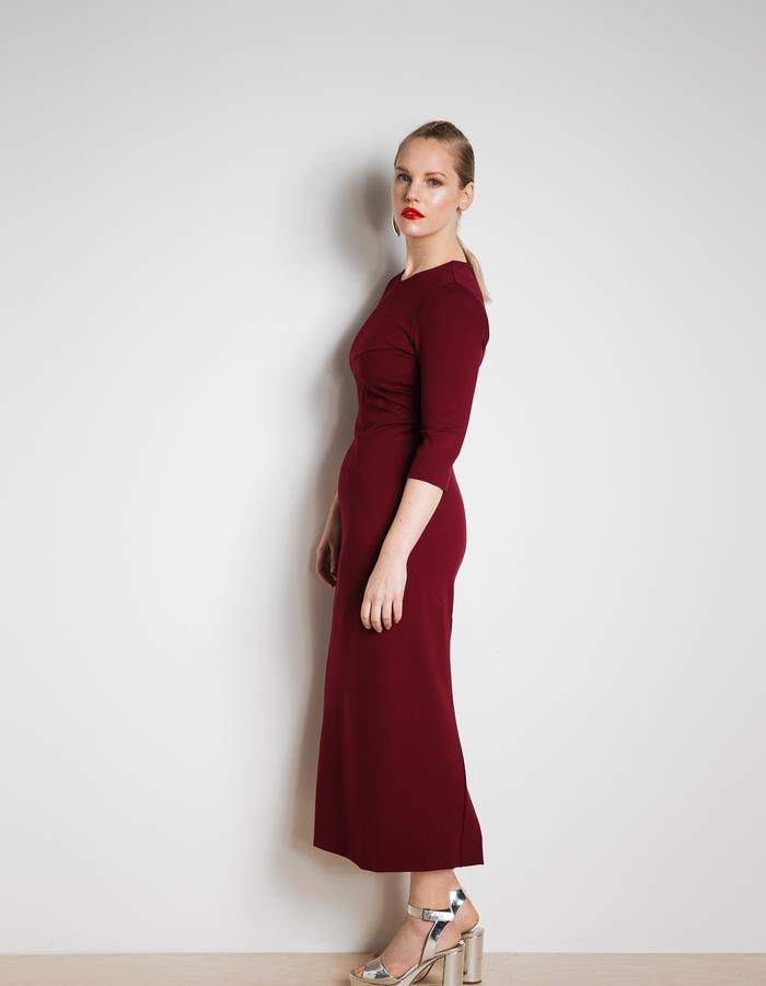 Workday dress in Cabernet red
