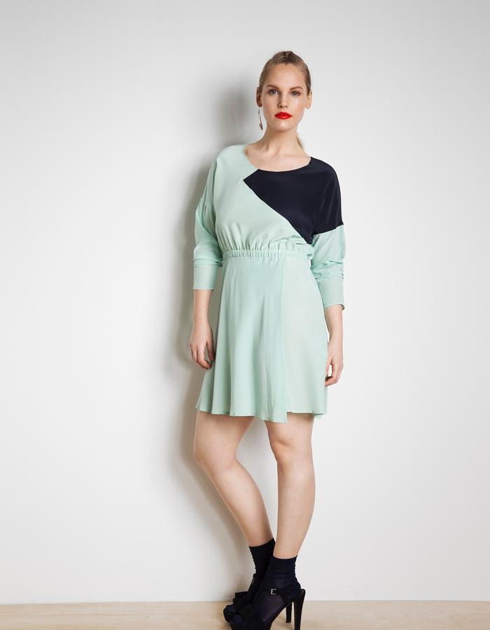 Elise silk dress customised in aqua blue with navy triangle