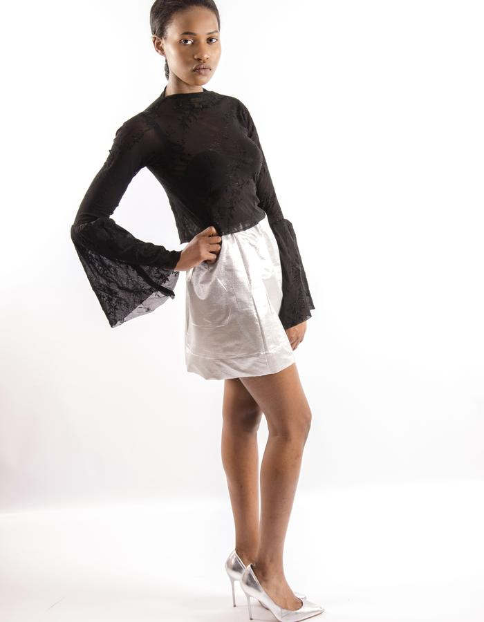 black lace top, silver skirt