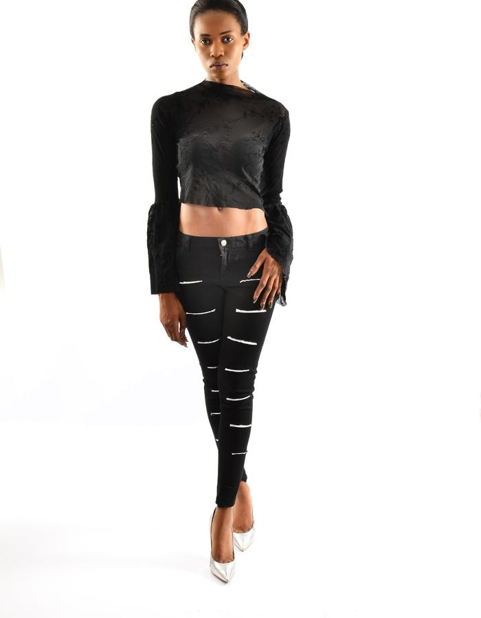 hand made silver striped pants