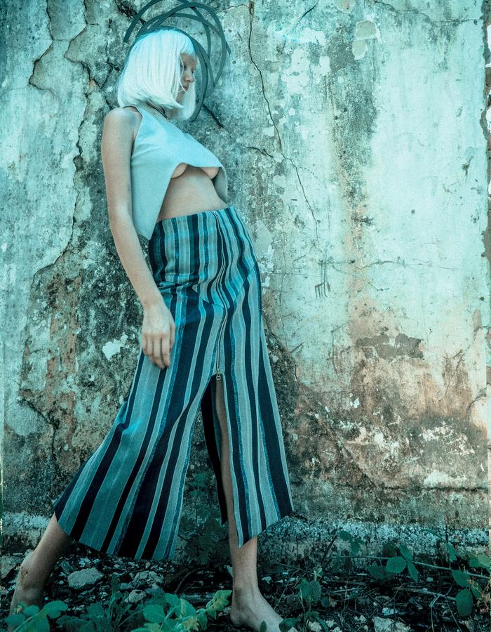 handmade fabric straight skirt with cropped brutal pants.