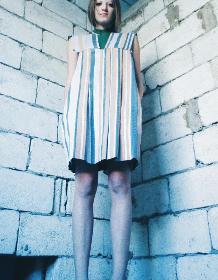 Cork pleated handmade straight dress
