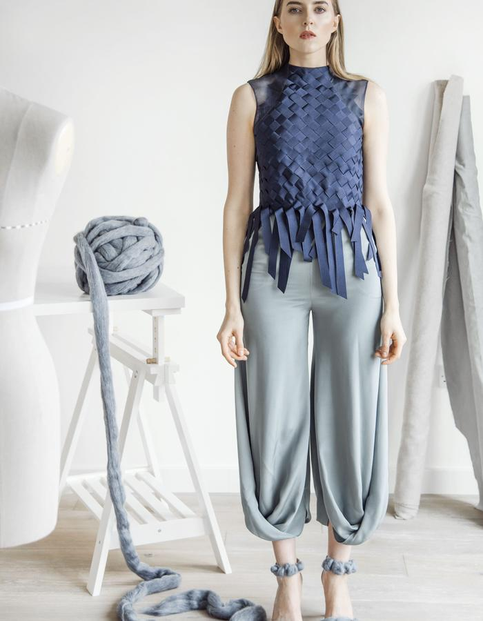 Jumpsuit created from woven grosgrain,draped silk trousers