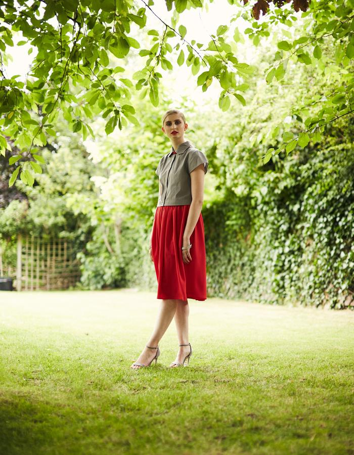 Zoe Carol Spring Summer Peggy Red Skirt Bel Grey Shirt