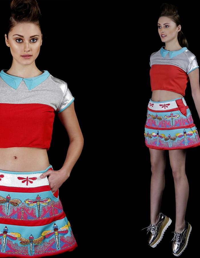 Origami collar crop top and hand embroidered mini neoprene skirt