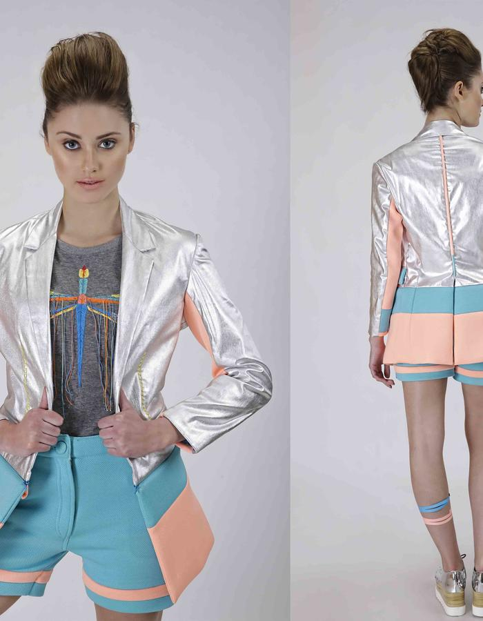 Dazzled blazer with a zip to shift silhouette and neoprene shorts