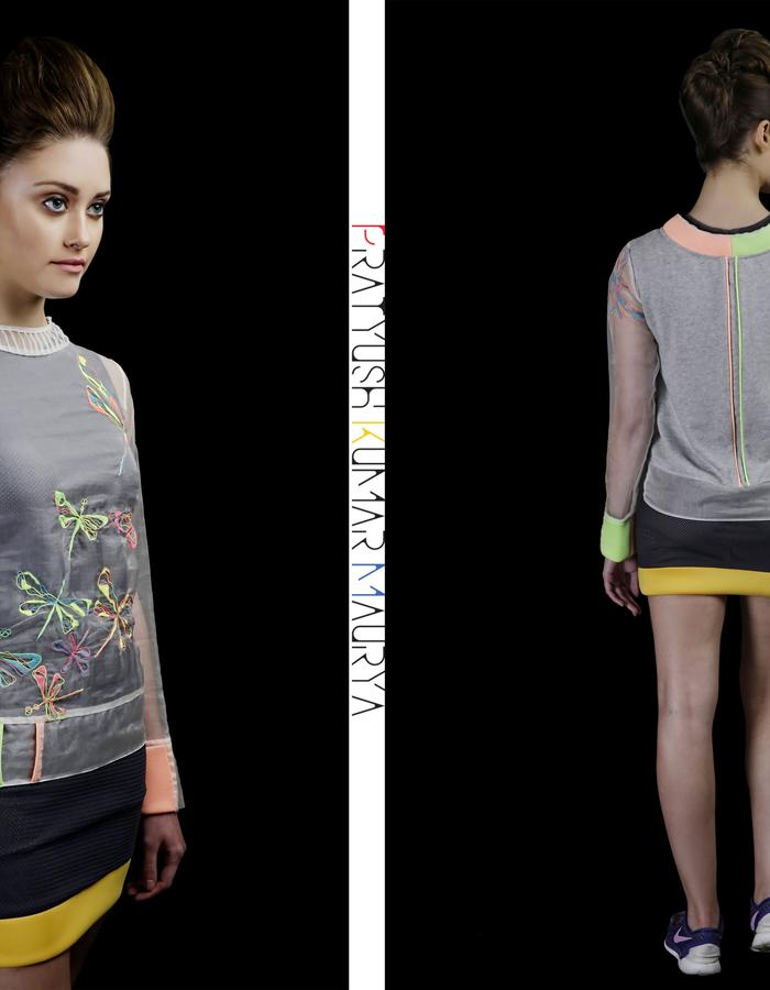 Doodle hand embroidery silk organza-jersey top