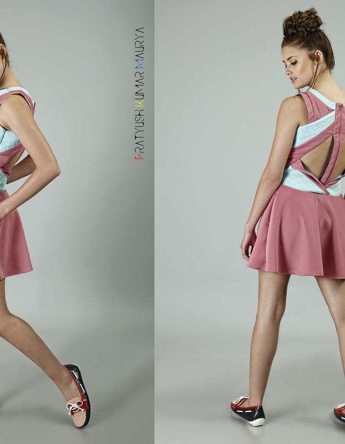 Origami collar Scuba Dress