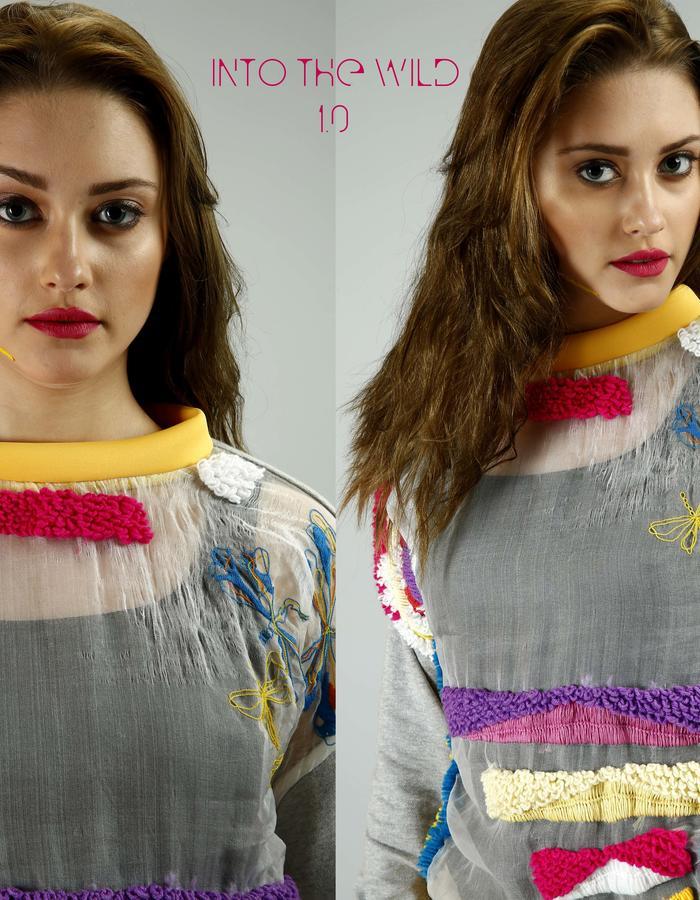 Hand embroidered Silk organza top