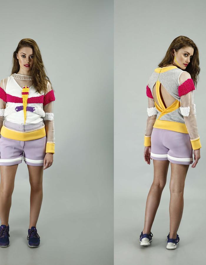 Hand embroidered silk Organza sweatshirt and neoprene shorts