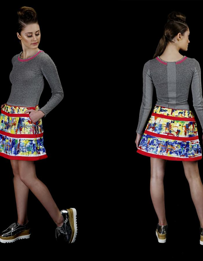 Recycled bottle textile top and hand painted and hand embroidered mini skirt