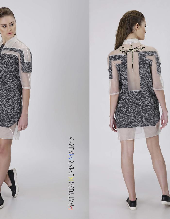 Wool and silk organza shirt dress with hand embroidery detail at the back