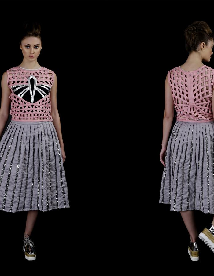 Hand weaved dragonfly top and Suede skirt with microball holographic textile detail.