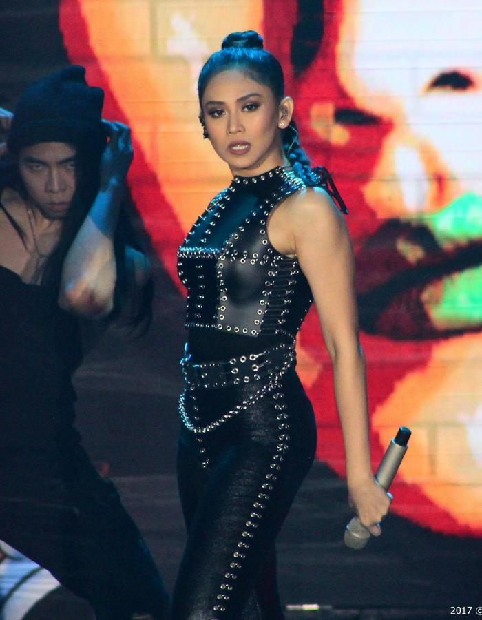 SARAH GERONIMO in THIAN RODRIGUEZ signature leather and metalworks.